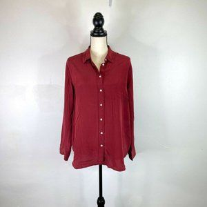 Everlane Burgundy Red Silk Long Sleeve Top 14